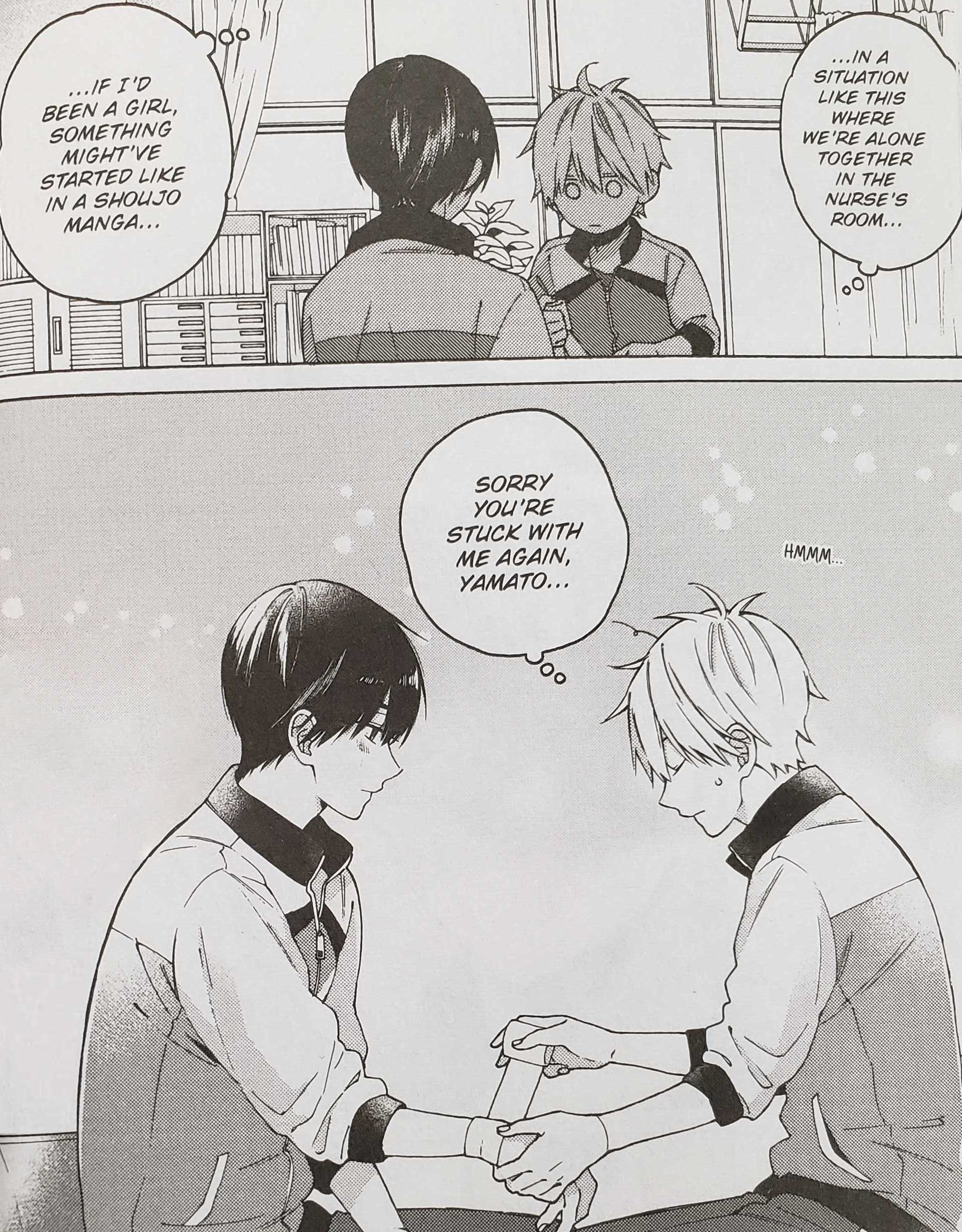 Kakeru wrapping Yamato's wrist (I Cannot Reach You Volume 1, pg. 48).