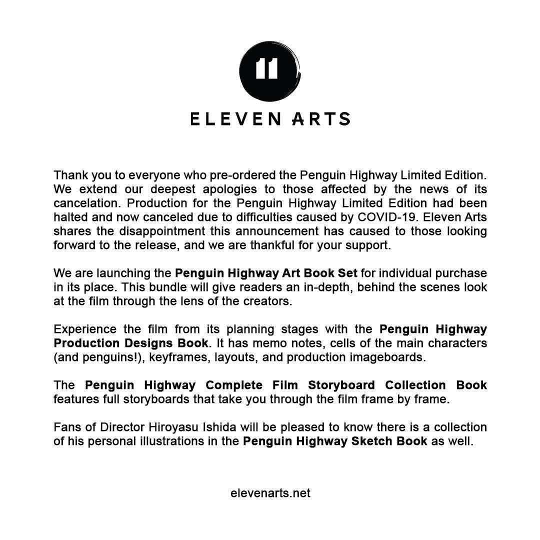 A Message From Eleven Arts About Penguin Highway