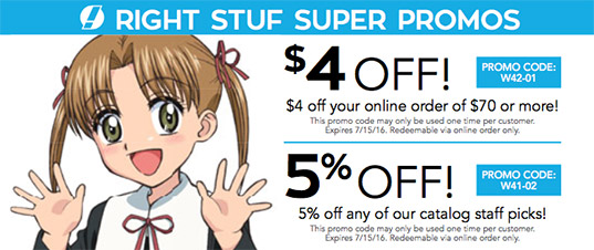 3 verified The Right Stuf International coupons and promo codes as of Nov Popular now: Join Anime Savings Club for only $12/Year. Rightstuf Coupon & Promo Codes. 3 verified offers for November, Coupon Codes / Movies, Music & Entertainment / Latest Free Shipping Offers. Black Friday Deals. Holiday Sales. Get our Emails%(9).