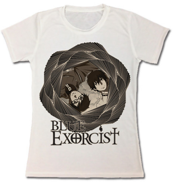Blue Exorcist Girl's Fitted T-Shirt: Rin and Yukio in Geometry Full Print - M