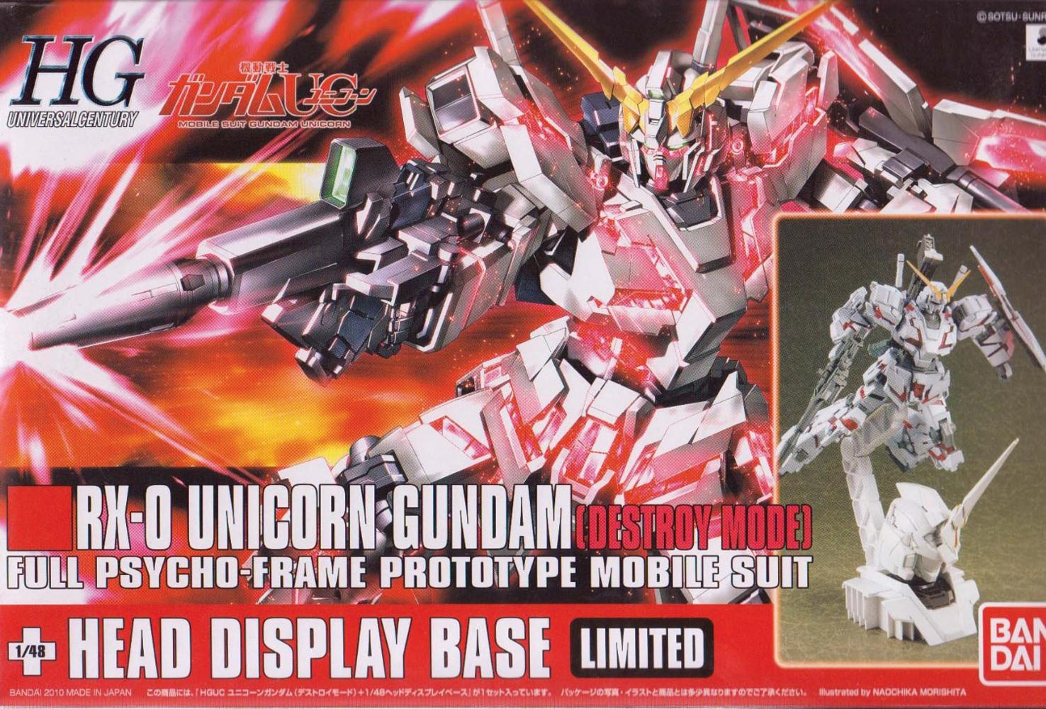 Gundam UC Model Kit: Unicorn Gundam (Destroy Mode) + Unicorn Head HG UC (1/144)