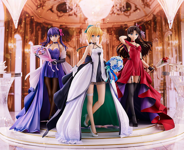 Saber & Rin Tohsaka & Sakura Matou 15th Celebration Dress Ver Fate/Stay Night Figure Set with Premium Box
