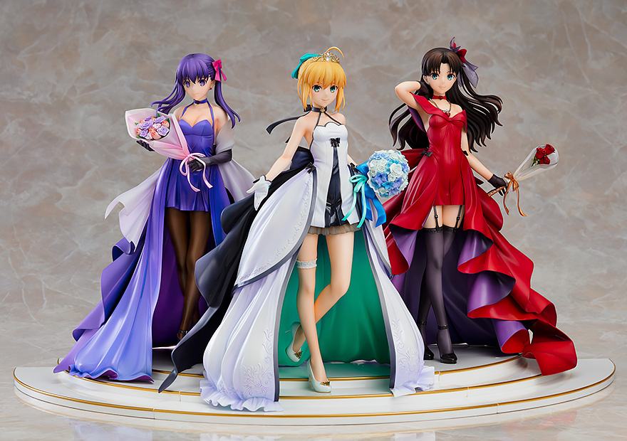 Saber & Rin Tohsaka & Sakura Matou 15th Celebration Dress Ver Fate/Stay Night Figure Set with Premium Box