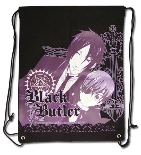 Sebastian and Ciel in Purple Black Butler Drawstring Bag
