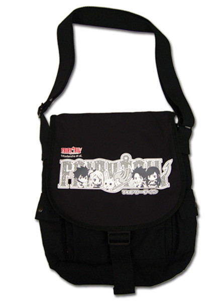 Grayscale Chibi Character Group Fairy Tail Messenger Bag
