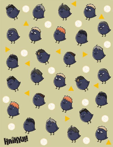 Haikyu!! Team Chibi Crows Throw Blanket