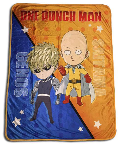 Chibi Saitama and Genos One-Punch Man Sublimation Throw Blanket