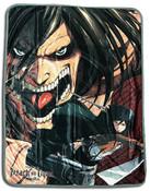 Eren Yeager Titan Form and Mikasa Ackerman Attack on Titan Throw Blanket