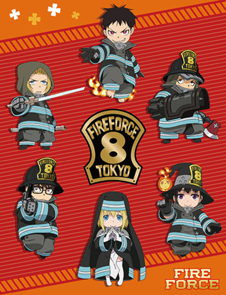 Chibi Company 8 Fire Force Throw Blanket