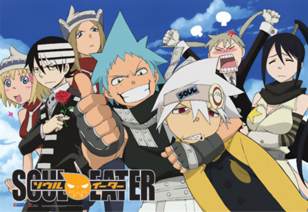 Group in Front of Sky Soul Eater Fabric Poster
