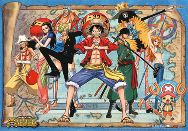 Luffy with Crew New World One Piece Fabric Poster