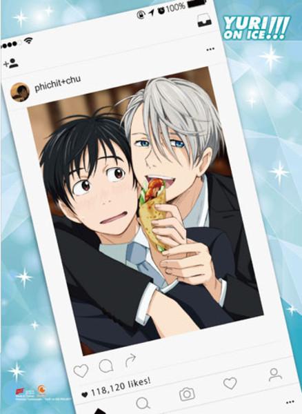 Yuri & Victor Instagram Yuri!!! On Ice Fabric Poster