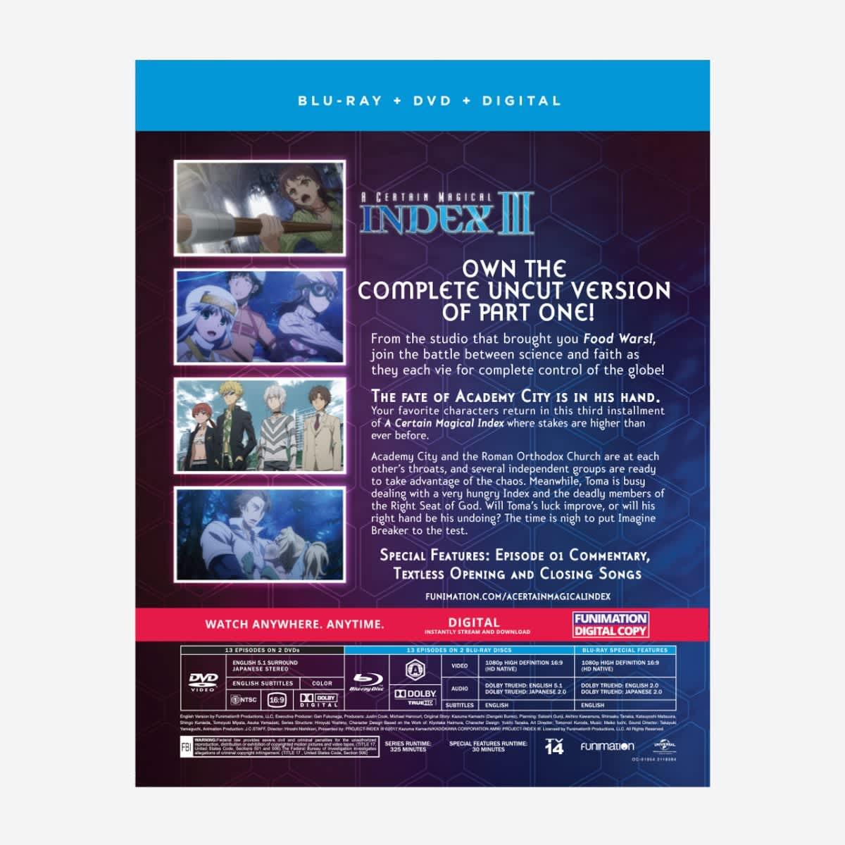 A Certain Magical Index Season 3 Part 1 Blu-Ray/DVD