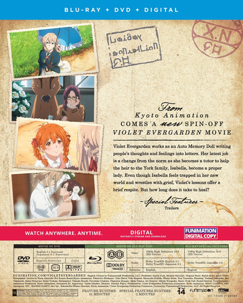 Violet Evergarden I Eternity and the Auto Memory Doll Movie Blu-ray/DVD