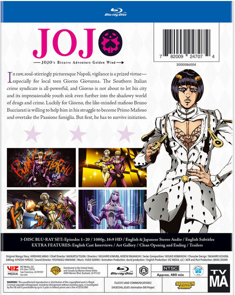 JoJos Bizarre Adventure Golden Wind Set 1 Blu-ray