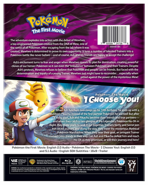 Pokemon The First Movie and I Choose You! Double Feature Blu-ray