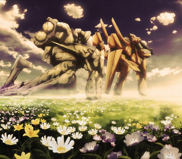 Aldnoah.Zero Canvas Fabric Art: KG-6 Sleipnir and KG-7 Areion in Flower Field