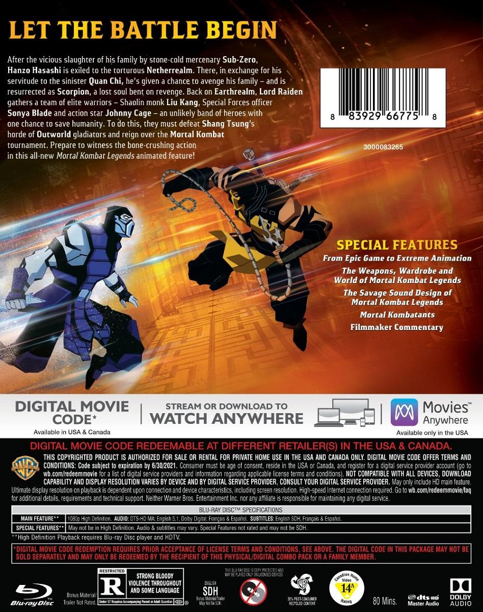 Mortal Kombat Legends Scorpion S Revenge Blu Ray