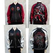 Asuka Langley Shikinami Cherry Blossoms and EVA-02'y Rebuild of Evangelion Original Reversible Embroidered Satin Jacket (Import)