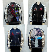 Rei Ayanami Dragon and EVA-01 x Night Cherry Blossoms Rebuild of Evangelion Original Reversible Embroidered Satin Jacket (Import)